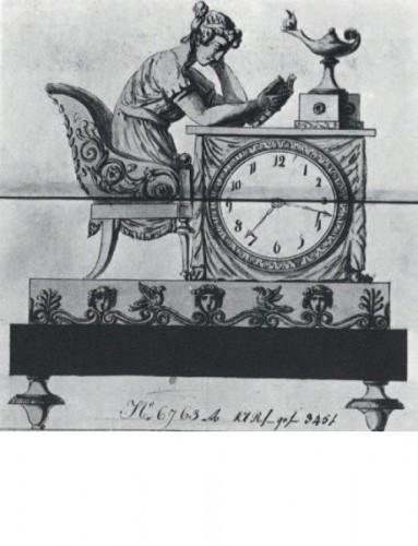 "19th century - Empire Ormolu Clock ""the Liseuse"" Dial signed Grand Girard"