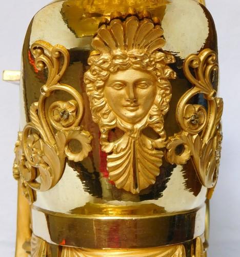 "Antiquités - Empire Ormolu Clock ""the Liseuse"" Dial signed Grand Girard"