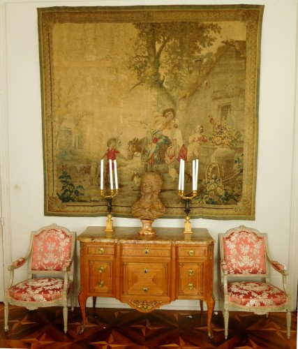 Antiquités - Aubusson tapestry, wool & silk, Louis XVI period
