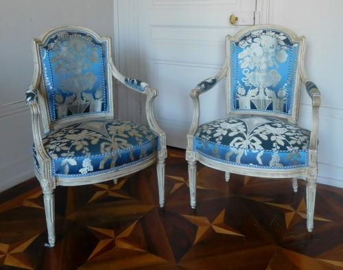 Pair Of Louis XVI Armchairs Stamped C Sené  - Seating Style Louis XVI