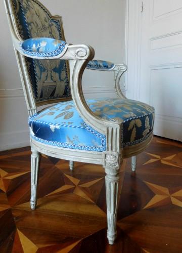 Antiquités - Pair Of Louis XVI Armchairs Stamped C Sené