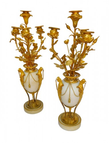 A Pair of Louis XVI ormolu and marble candelabra