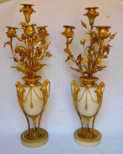 A Pair of Louis XVI ormolu and marble candelabra - Lighting Style Louis XVI
