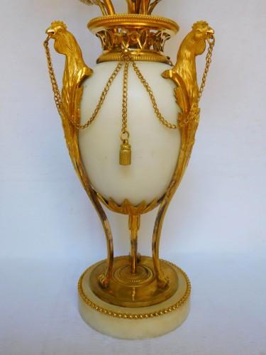 Lighting  - A Pair of Louis XVI ormolu and marble candelabra