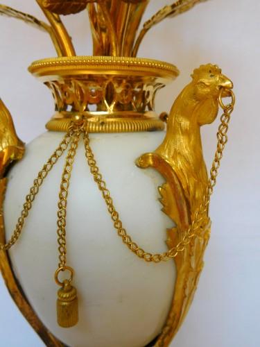 Pair of Louis XVI candelabra, ormolu and marble - Louis XVI