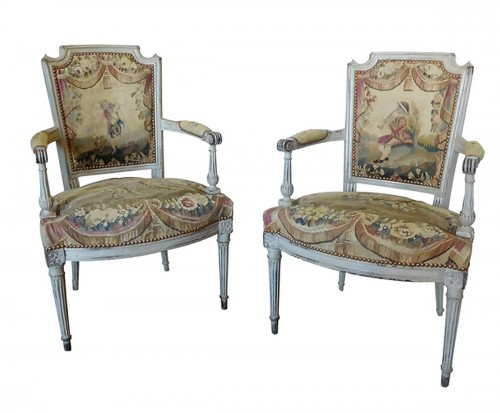 Pair of Louis XVI cabriolet armchairs - 18th century Aubusson tapestry