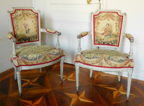 Pair of Louis XVI cabriolet armchairs - 18th century Aubusson tapestry - Seating Style Louis XVI