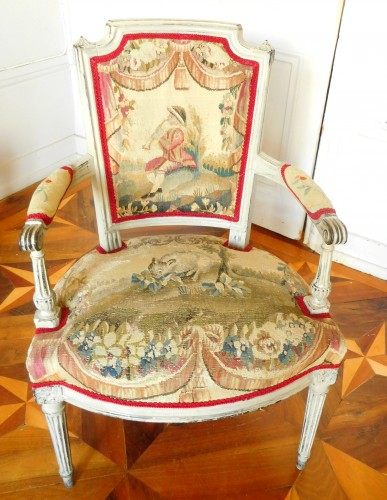Antiquités - Pair of Louis XVI cabriolet armchairs - 18th century Aubusson tapestry