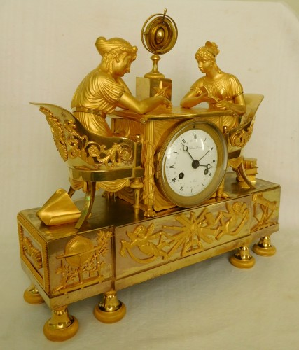 Empire ormolu clock - The Astronomy, after Reiche by Claude Galle - Clocks Style Empire