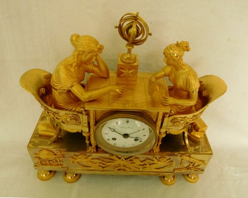 Empire ormolu clock - The Astronomy, after Reiche by Claude Galle -