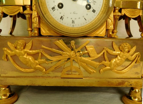 Antiquités - Empire ormolu clock - The Astronomy, after Reiche by Claude Galle