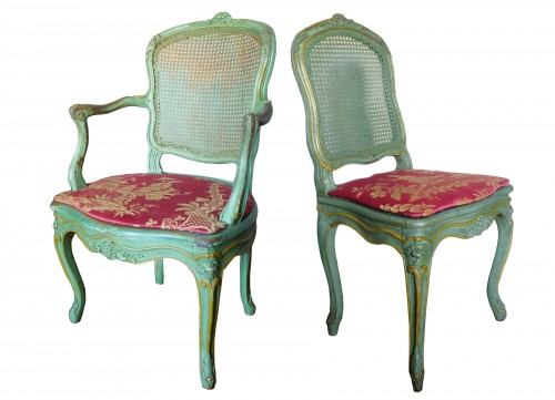 JB Gourdin Louis XV Canned Set (2 Armchairs & 4 Chairs) - Signed