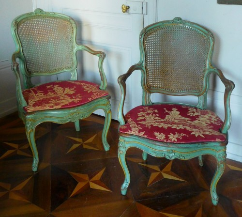 JB Gourdin Louis XV Canned Set (2 Armchairs & 4 Chairs) - Signed - Seating Style Louis XV