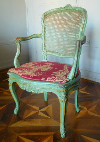 Seating  - JB Gourdin Louis XV Canned Set (2 Armchairs & 4 Chairs) - Signed