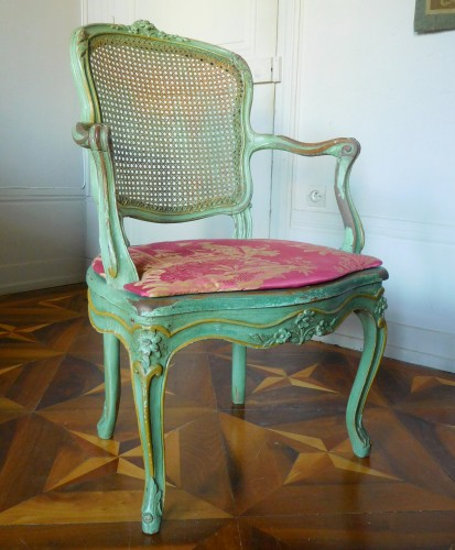 18th century - JB Gourdin Louis XV Canned Set (2 Armchairs & 4 Chairs) - Signed