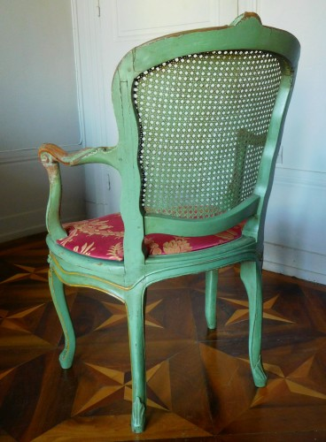 Louis XV - JB Gourdin Louis XV Canned Set (2 Armchairs & 4 Chairs) - Signed