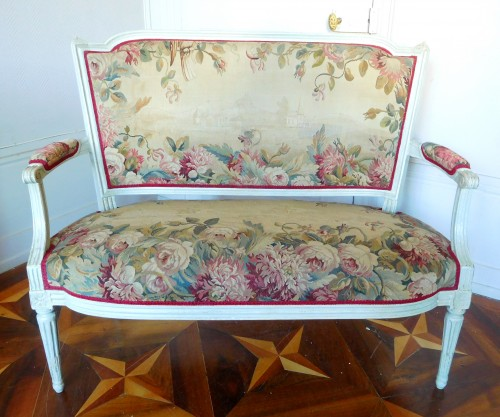 Louis XVI Sofa With Aubusson Tapestry - Circa 1780 -
