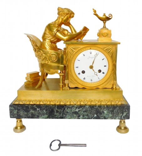 Empire Ormolu Clock, The Reader After Reiche By Claude Galle & Grand Girard