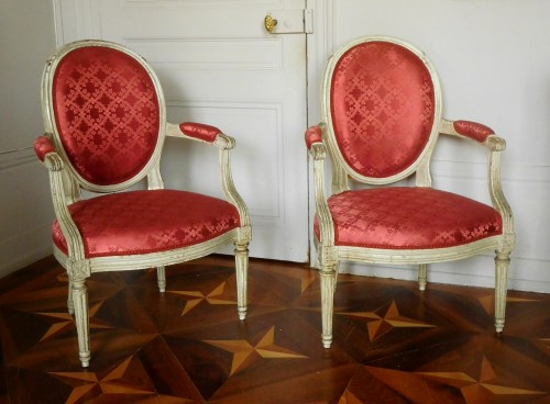 Pair Of Louis XVI Canned Armchairs Stamped Jean Baptiste Lelarge - Seating Style Louis XVI