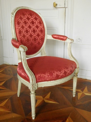 Seating  - Pair Of Louis XVI Canned Armchairs Stamped Jean Baptiste Lelarge
