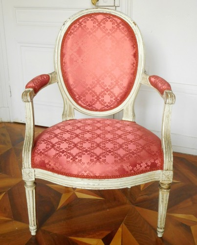 Pair Of Louis XVI Canned Armchairs Stamped Jean Baptiste Lelarge -