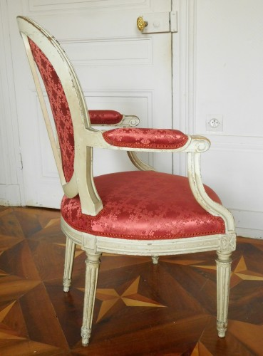 Pair Of Louis XVI Canned Armchairs Stamped Jean Baptiste Lelarge - Louis XVI