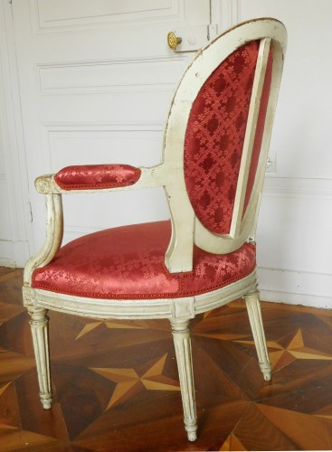 Louis XVI - Pair Of Louis XVI Canned Armchairs Stamped Jean Baptiste Lelarge