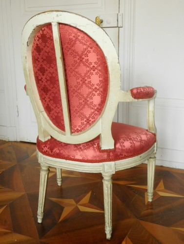 Antiquités - Pair Of Louis XVI Canned Armchairs Stamped Jean Baptiste Lelarge