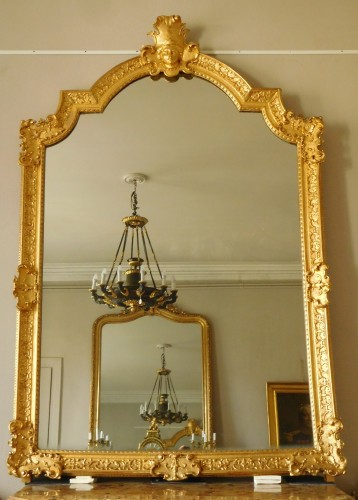 Giltwood mirror, French Regence - 18th century - Mirrors, Trumeau Style French Regence