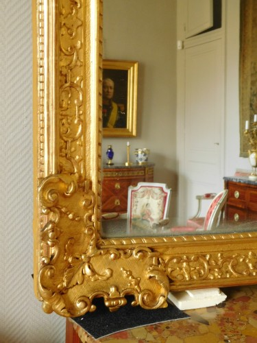 Giltwood mirror, French Regence - 18th century -