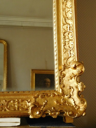 18th century - Giltwood mirror, French Regence - 18th century