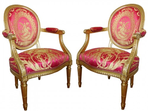 Pair Of Louis XVI gilt armchairs - stamp of Krieger