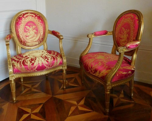 Pair Of Louis XVI gilt armchairs - stamp of Krieger - Seating Style Napoléon III