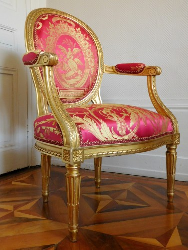 Seating  - Pair Of Louis XVI gilt armchairs - stamp of Krieger