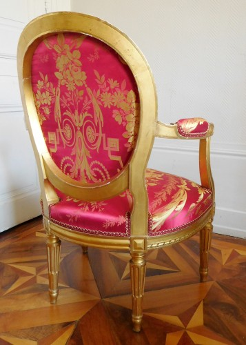19th century - Pair Of Louis XVI gilt armchairs - stamp of Krieger