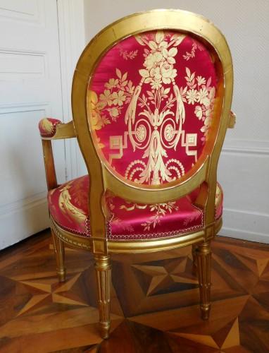 Pair Of Louis XVI gilt armchairs - stamp of Krieger - Napoléon III
