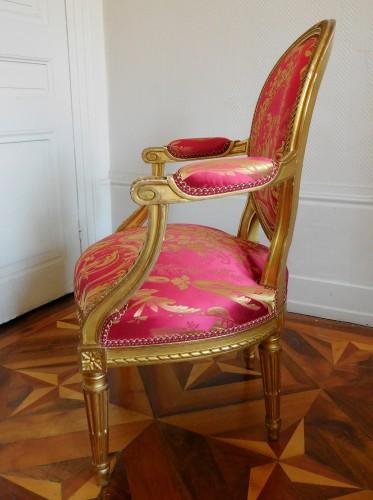 Napoléon III - Pair Of Louis XVI gilt armchairs - stamp of Krieger