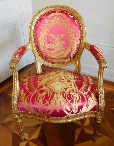 Antiquités - Pair Of Louis XVI gilt armchairs - stamp of Krieger