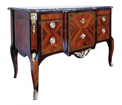 Transition Period Marquetry Commode, Circa 1775  - Stamped  Ohneberg