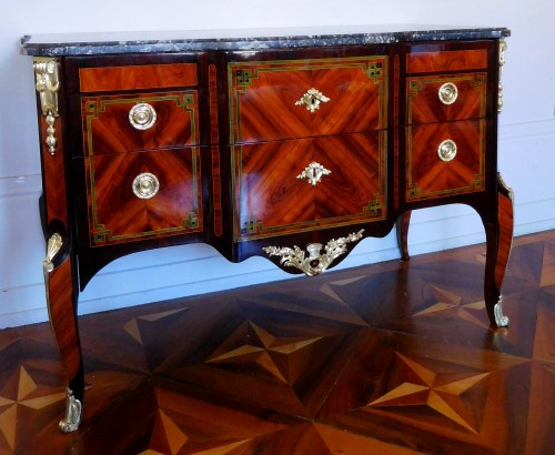 Transition Period Marquetry Commode, Circa 1775  - Stamped  Ohneberg - Furniture Style Transition
