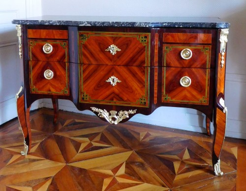 Furniture  - Transition Period Marquetry Commode, Circa 1775  - Stamped  Ohneberg