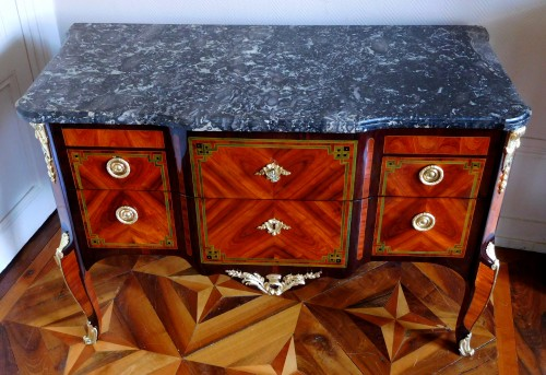 Transition Period Marquetry Commode, Circa 1775  - Stamped  Ohneberg -