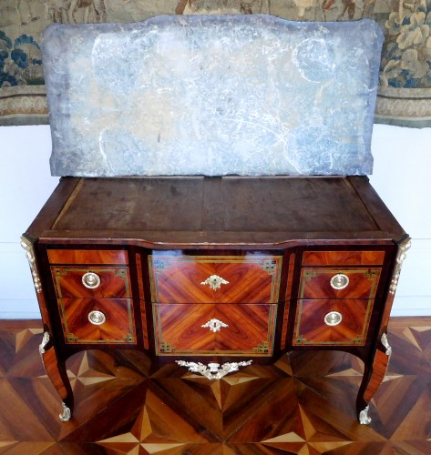 Transition - Transition Period Marquetry Commode, Circa 1775  - Stamped  Ohneberg