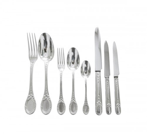 Sterling silver flatware 84 pieces - silversmith Queille