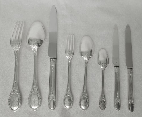 Sterling silver flatware 84 pieces - silversmith Queille - Antique Silver Style Art nouveau