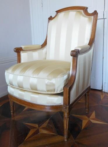 JBB Demay : large Louis XVI bergere, Tassinari & Chatel silk, 18th century - Seating Style Louis XVI