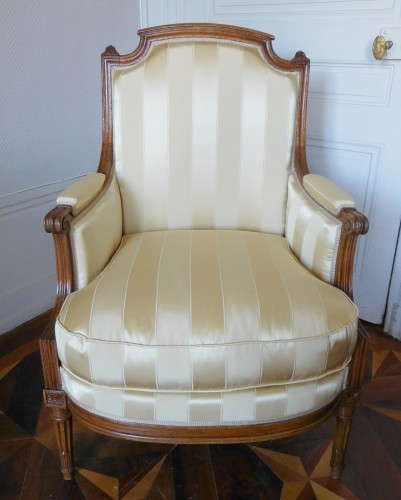 Seating  - JBB Demay : large Louis XVI bergere, Tassinari & Chatel silk, 18th century