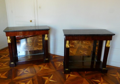 Furniture  - Pair of mahogany consoles