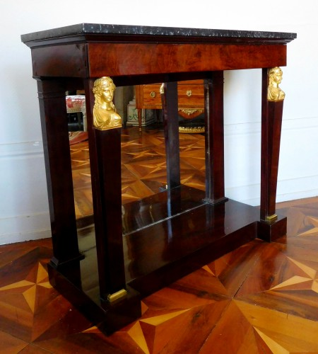 19th century - Pair of mahogany consoles