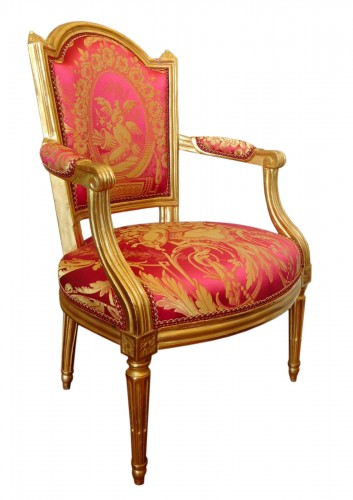 Louis XVI cabriolet armchair, gold leaf gilt - stamp of Mariette